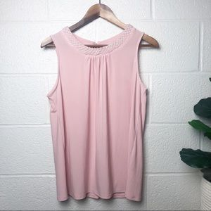 Faith and Joy Blush Pink Tank Top Pearl Collar